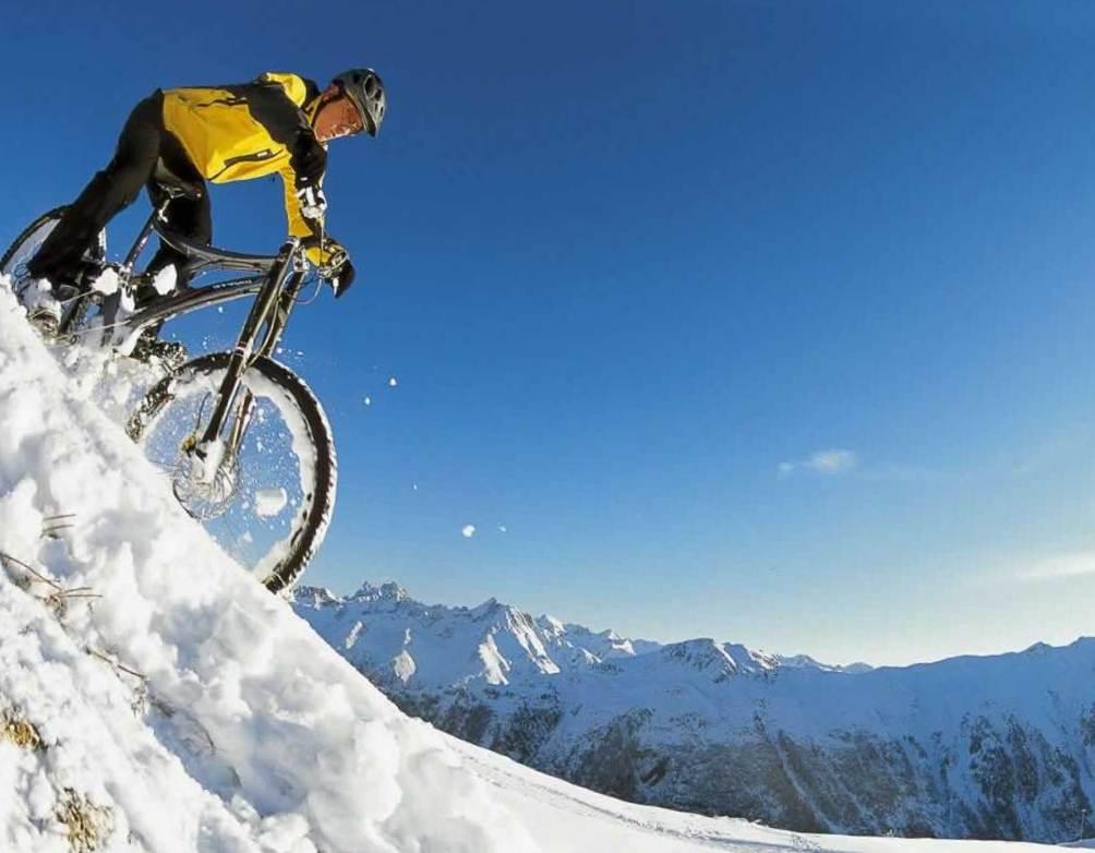 горный велосипед зимой