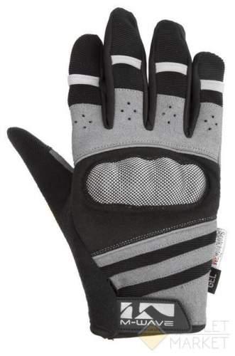 Перчатки M-WAVE длин. гель/лайкра дыш. д/сенсора антискольз. с защитой черно-серые