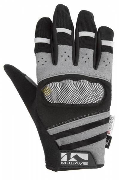 Перчатки длинные гель/лайкра дышащие для сенсора антискользящие с защитой черно-серые M-WAVE
