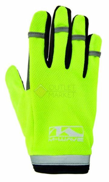 Перчатки длинные гель/лайкра дышащие для сенсора антискользящие с петелькой неоновый-желтый M-WAVE