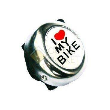 """Звонок велосипедный, сталь, детский, серебристый с рисунком """"I love my bike"""""""
