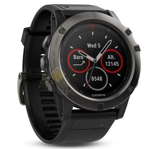 Мультиспортивные часы Garmin Fenix 5X Sapphire с GPS серые с черным ремешком
