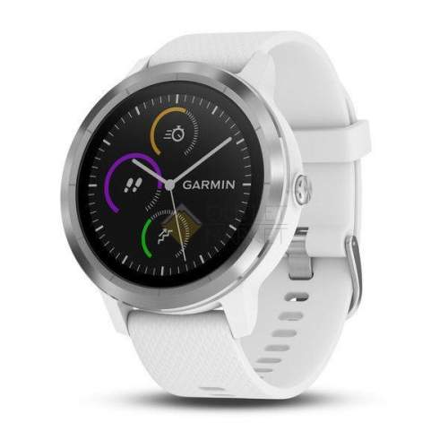 Смарт-часы Garmin Vivoactive 3 с функцией GARMIN PAY серебристые с белым ремешком 010-01769-22