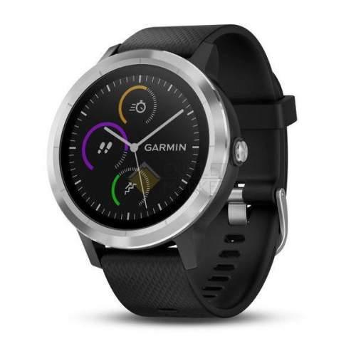 Смарт-часы Garmin Vivoactive 3 с функцией GARMIN PAY серебристые с черным ремешком