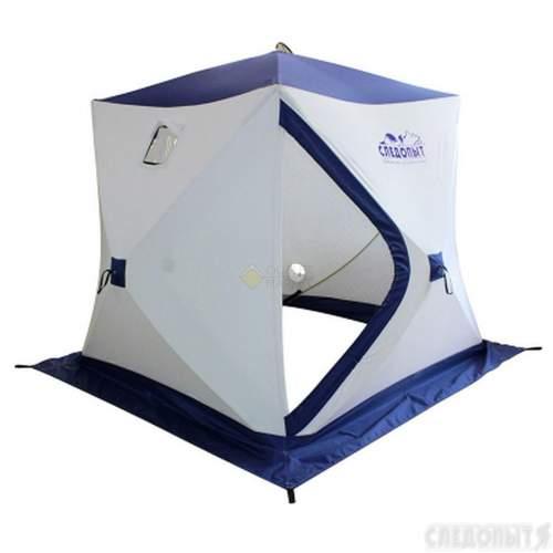 Палатка зимняя куб СЛЕДОПЫТ Эконом 2-х местная 3 слоя цвет бело-синий PF-TW-07