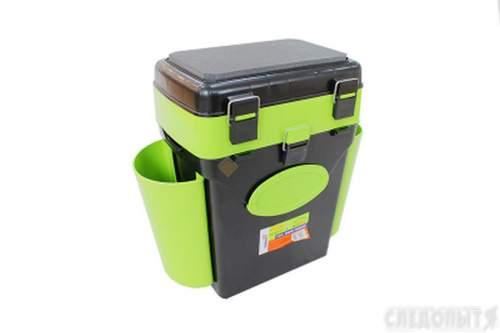 Ящик для зимней рыбалки FishBox Helios с навесными карманами 10 л зеленый MB-BU-W01