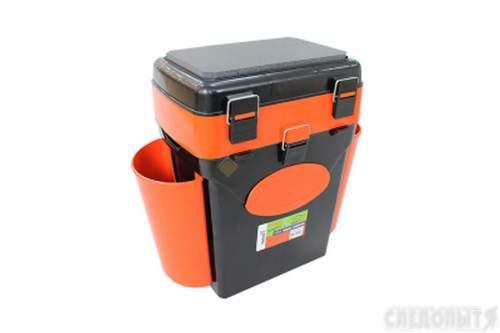 Ящик для зимней рыбалки FishBox Helios с навесными карманами 10 л оранжевый MB-BU-W02
