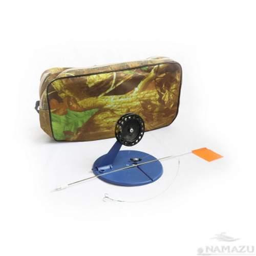 Набор жерлиц оснащенных Namazu d-190 мм катушка 90 мм груз конус 6 г в сумке квадрат N-FTG10
