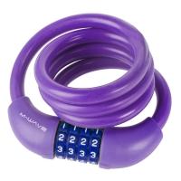 Замок велосипедный M-WAVE кодовый трос 1000 мм силикон Фиолетовый