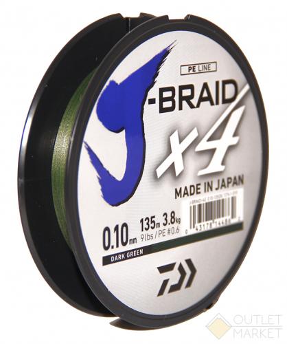 Шнур Daiwa J-Braid X4 Dark Green 135 м