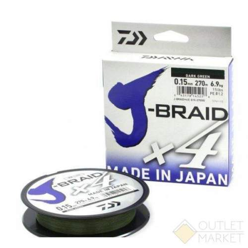 Шнур Daiwa J-Braid X4 Dark Yellow 135 м