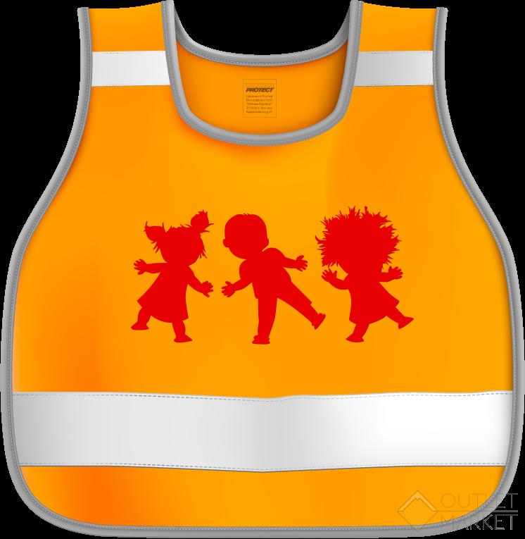 Жилет сигнальный детский 7-12 лет размер 30-34 рост 122-146 Дети оранжевый флуоресцентный COVA
