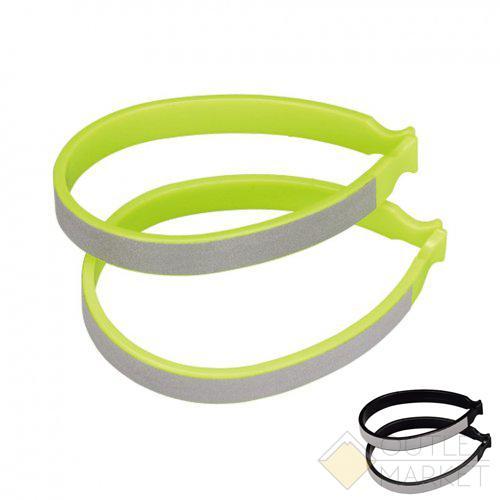 Зажимы для штанин пластиковые со световозвращающими стикерами зелёный/чёрный (на выбор)