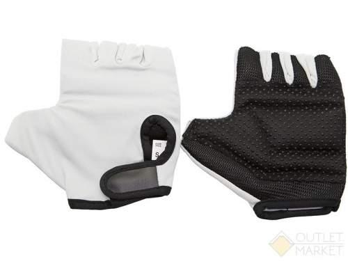 Велосипедные перчатки TBS без пальцев. материал: белая кожа с наполнителем, лайкра. размер: l