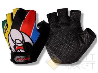 Велосипедные перчатки TBS детские hp09. материал: ладонь 55% полиэстер, 45% виниловая кожа, амортизирующие вставки, защита от соскальзывания, тыльная сторона с теплоотводящим принятом. размер: s(8,5х11,1см). рисунок: разноцветные полоски
