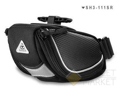 Сумка для велосипеда под седло sh3-111sr-27 0,3л 14х9,5х6см полиэстер 600d+синт.кожа чёрная