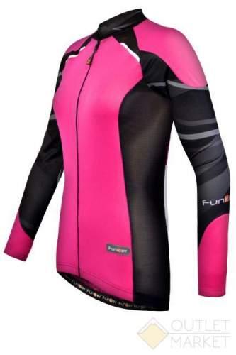 Велофутболка FUNKIER женская WJ-730-1-L Pink с длин. рукавом розово-черная