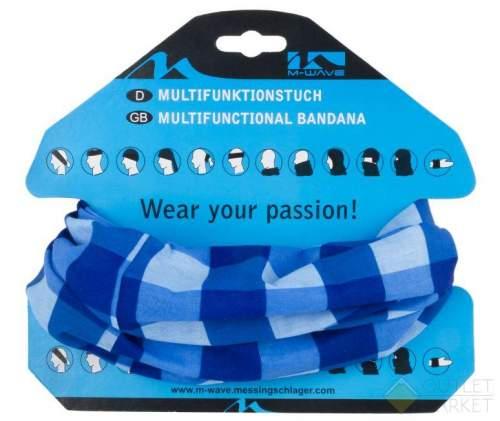 Бандана M-WAVE дыш. полиэстер с микрофиброй 24х48см б/шов. BLUE SQUARED сине-голубые квадр.