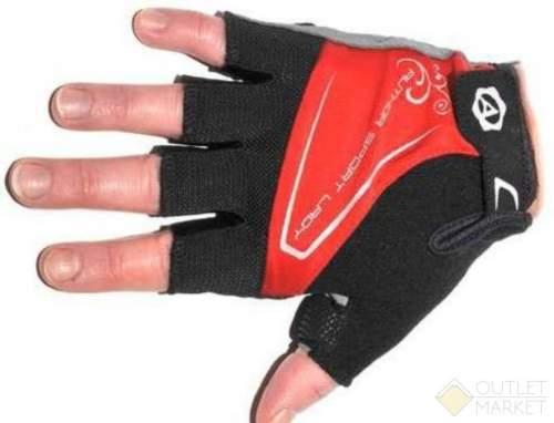 Перчатки AUTHOR Lady Comfort Gel красн-черно-серые гель/лайкра/синт.кожа с петельк.