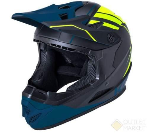 Шлем KALI Full Face DH/BMX Zoka Mat Blk/Fluo Ylw 6отв. черн-желт-син ABS