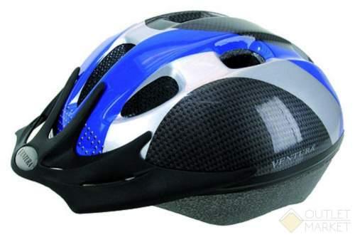 Шлем VENTURA с сеточкой 9отв. сине-серо-карбон.