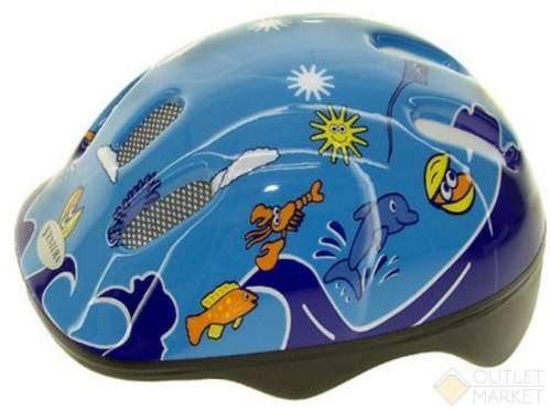 Шлем .детский/подростк. VENTURA с сеточкой 6отв. SEA WORLD/голубой