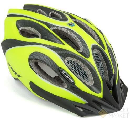Шлем AUTHOR спорт. с сеточкой Skiff 171 14отв. INMOLD неоново-желто-черный