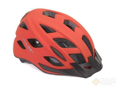 Шлем AUTHOR с сеточкой PULSE LED X8 16отв. СВЕТОДИОД.ФОНАРИК 6д/2ф мат. Красный