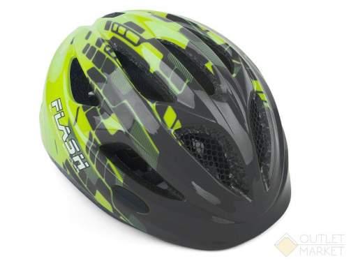 Шлем AUTHOR Flash X8 Grey/Yell-Neon matt INMOLD детский/подр. СВЕТОД. ФОНАРИК 6 красн.LED диод. 3ф 11отв серо-неоново-желтый