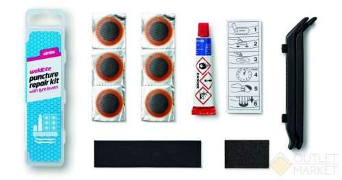Велосипедная аптечка WELDTITE 6 суперзаплаток клей шкурка 2 монтировки