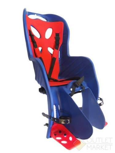Детское кресло CURIOSO DELUXE на подседельный штырь синее с красн вставкой до 22 кг