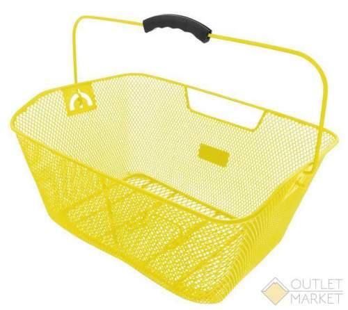 Корзина задняя усил. 41х31х16см сталь на багажник с ручкой желтая M-WAVE