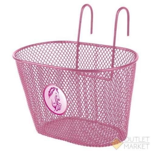 Корзина детская 25х15х14,5см сталь универс. крепл. на руль/багаж. розовая с лого лошадка