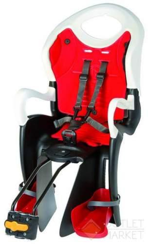 Детское кресло BELLELLI TUV на подседельный штырь до 22 кг регулируемая высота чёрно белое