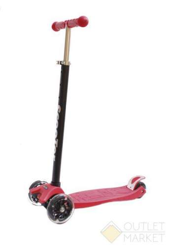 Самокат COD-X 3 колеса со светодиодами детский красный