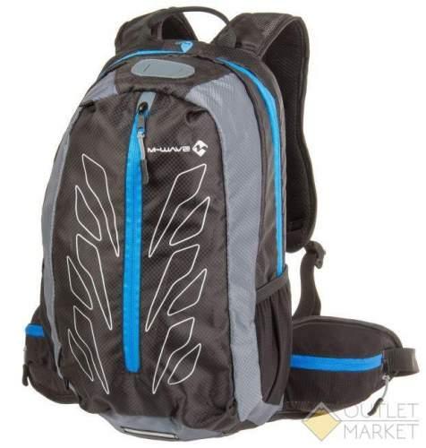 Рюкзак M-WAVE 46х28х12см V=15л облегчённый дышащая сетка на спине с дождевым чехлом