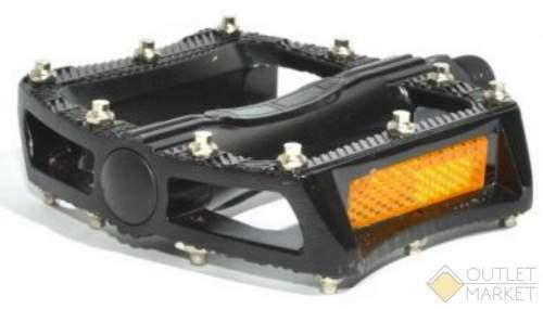 Педали AUTHOR BMX APD-F11-Alu алюминиевые литые широкие сменные шипы с отражателями