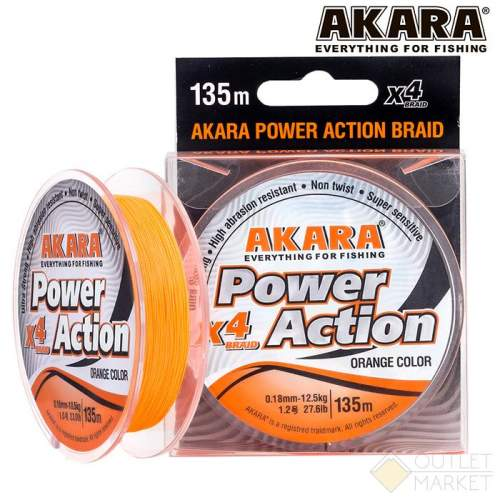 Шнур Akara Power Action X-4 Orange 135 м