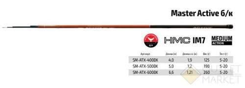 Удилище телескоп угольное д/с S Master Active TX-20 б/к Арт: SM-ATX-500BK