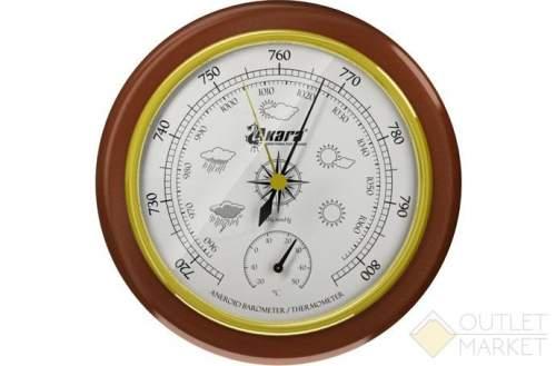 Барометр Akara с термометром дер. оправа 125 мм