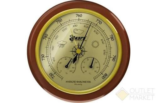 Барометр Akara с термометром и гигрометром дер. оправа 125 мм