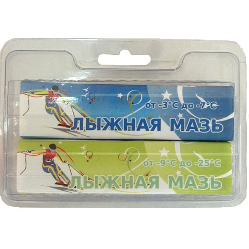 Мазь лыжная SPRINT комплект из 2 брусков (-3 -7)(-9 -25) ЛМ2-С-СЗ 80 г Синий, светло-зеленый