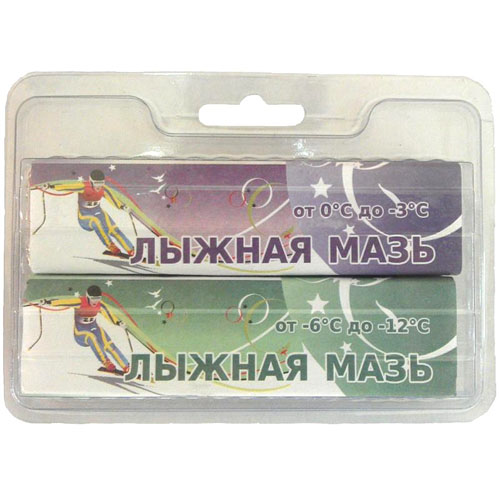 Мазь лыжная SPRINT комплект из 2 брусков (0 -3)(-6 -12) ЛМ2-ФЗ 80 г Фиолетовый, зеленый