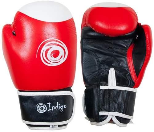 Перчатки боксёрские INDIGO натуральная кожа PS-789 14 унций Красно-черно-белый