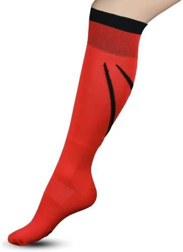 Гетры футбольные с рисунком, уплотнением и сеткой на стопе INDIGO Спорт 3-1 32-34 Красный