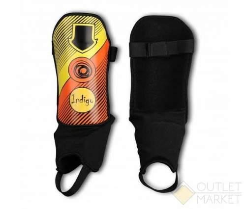Щитки футбольные INDIGO с защитой щиколотки, ламинированным покрытием 1250 Оранжево-желтый