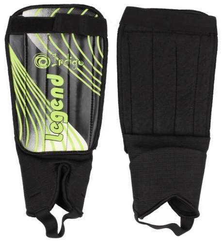 Щитки футбольные INDIGO с защитой щиколотки 1511 M-L Серо-лимонный