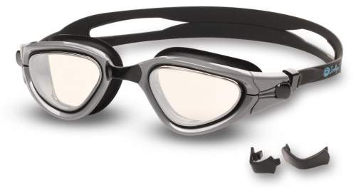 Очки для плавания INDIGO MAPLE зеркальные сменная переносица S988M Черно-серый