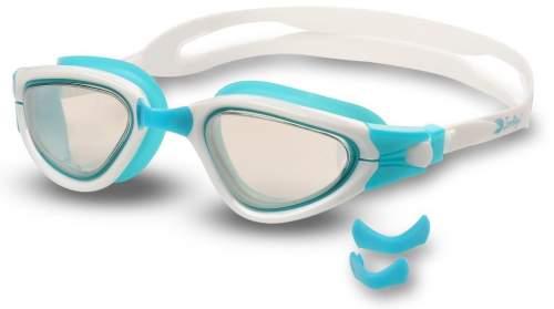 Очки для плавания INDIGO MAPLE зеркальные сменная переносица S988M Бирюзово-белый
