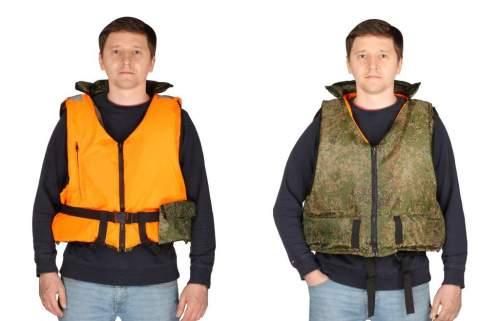 Жилет страховочный Двухсторонний Шкипер до 100кг SM-019 M-L Оранжевый/КМФ